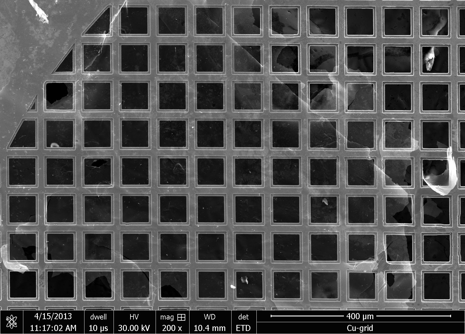 Fig. 1: SEM image of carbon coated copper grid at beam energy of 30 kV
